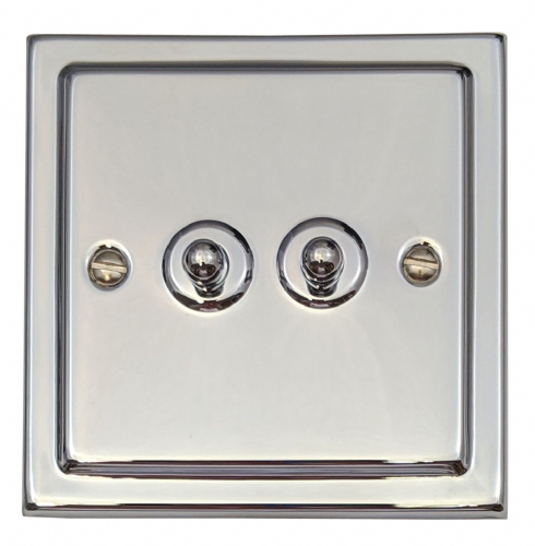 G&H TC282 Trimline Plate Polished Chrome 2 Gang 1 or 2 Way Toggle Light Switch